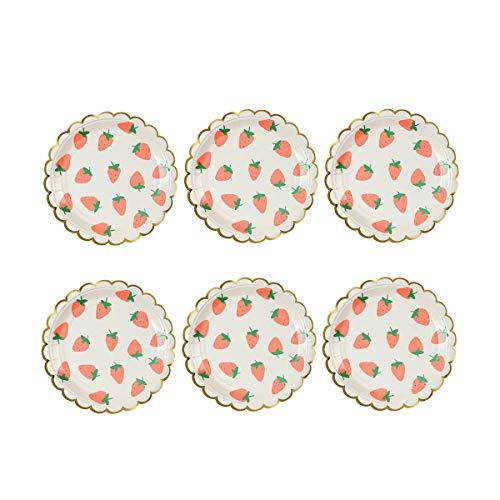 Bestoyard Geschirr, rund, Teller, bedruckt, Obst, Kuchenteller für Partys, Festivals, 8 Stück (18 cm)