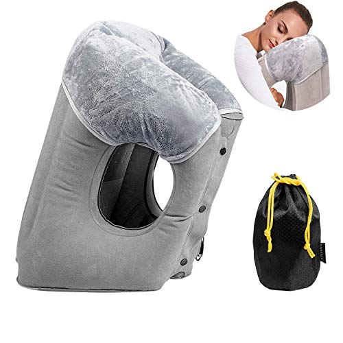 GOODFIT Inflatable Travel Pillow, Ergonomic Multifunction Ajustable Pillow Support Your Neck and Lumbar,Best Travel Accessories for Airplane,Train,Bus,Office Napping,Outdoor Camping HAIYANLE (Gray)