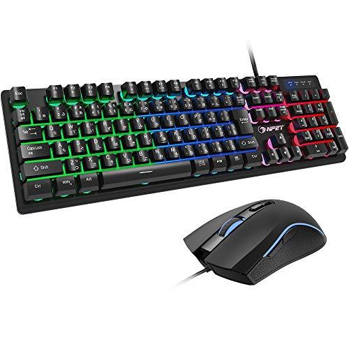 NPET キーボード マウス セット ゲーミング USB 有線 LED バックライト 4階段DPI ゲーミングマウス キーキャッププーラー付き S20