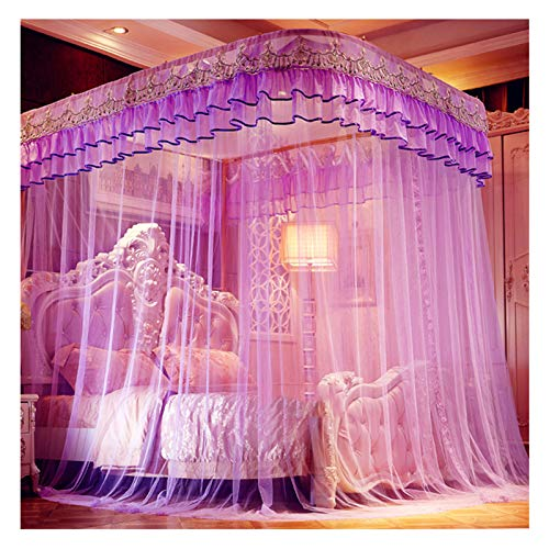 LKH New Purple Canopy Bed Curtains - Landing Encrypted Mesh Tent Yarn - U-shaped Guide Rail - Adults Mosquito Net for 1.5-2.2m Bed(Size:for 1.5m/5 feet bed)