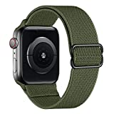SIRUIBO Stretchy Nylon Solo Loop Bands Compatible with Apple Watch 38mm 40mm, Adjustable Stretch Braided Sport Elastics Women Men Strap Compatible with iWatch Series 6/5/4/3/2/1 SE, Army Green