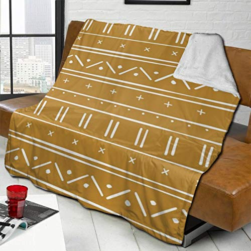 vilico Throw Blanket Fleece Baby Blankets for Boys Girls Kids,Soft Warm Cozy Blanket Fit Couch Bed Sofa,40x50 inches - Wrap Ethnic Mud Cloth Golden Mustard