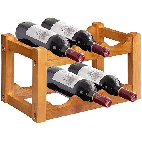 Giantex Wooden Wine Rack, 2-Tier 6-Bottle Wine Bottle Holder, 100% Rubber Wood, Wave Design, Smooth Surface, Wooden Countertop Wine Organizer for Kitchen, Pub, Pantry, Bar, Dining Room (6-Bottle)