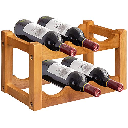 Giantex Wooden Wine Rack, 2-Tier 6-Bottle Wine Bottle...