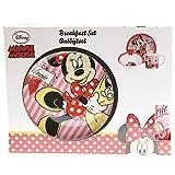 Disney Minnie Mouse 3 Piece Kids Dinner Breakfast Set Ceramic Plate Mug And Bowl