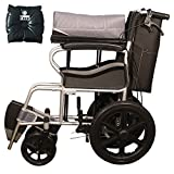Ryder Wheelchair Lightweight Foldable Attendant Wheelchair with Seat Belt - Grey