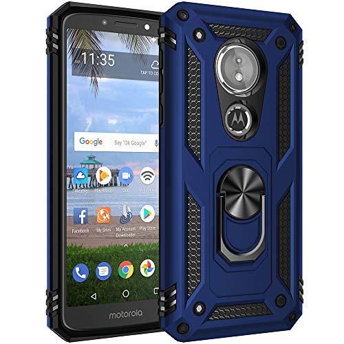 Militär Grade Drop Impact für Motorola Moto E5 Hülle, Moto G6 Play Case 360 Metall drehbar Ring Ständer Halter Magnetische Auto Halterung Armor Heavy Duty Stoßfest Cover Moto E5 G6 Play Case, blau