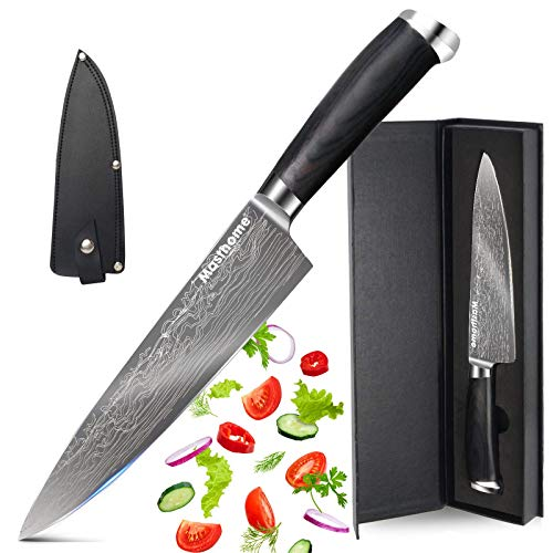 Masthome Couteau de Chef Professionnel en Acier Inoxydable Couteau de Cuisine - Longueur Totale: 33 CM