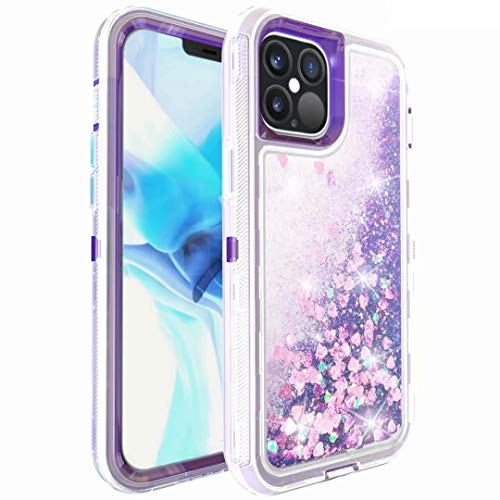 Phone Case for iPhone 11 Pro Max, Glitter Sparkle Heavy Duty Liquid Luxury Bling Clear Shockproof Full Body Protection Cover Diamond Floating Quicksand Protective Case for Girls Women purple
