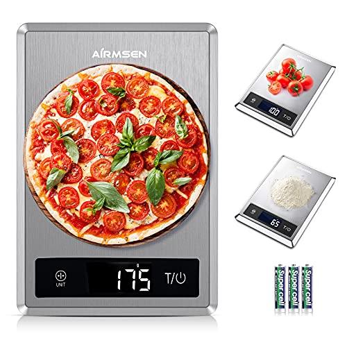 AIRMSEN Bilancia da cucina digitale con funzione tara, 11lb 304 Bilancia per alimenti in acciaio inossidabile, 5 unità di peso, 3 batterie, misurazione accurata del peso per cucinare e stare a dieta