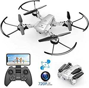 SNAPTAIN A10 Foldable Mini Drone with 720P HD Camera, WiFi FPV RC Quadcopter, Voice/Gesture Control, Trajectory Flight, Circle Fly, High-Speed Rotation, 3D Flips, G-Sensor, Headless Mode