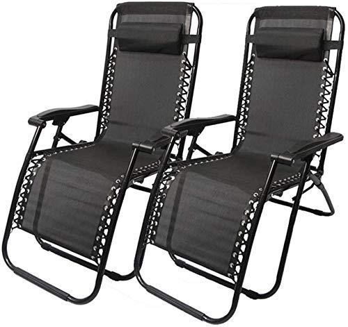 WJXBoos 2 Piezas sillas de Playa tumbonas Tumbona de Gravedad Cero Silla reclinable Silla de jardín Silla Plegable al Aire Libre césped portátil Playa Camping Negro