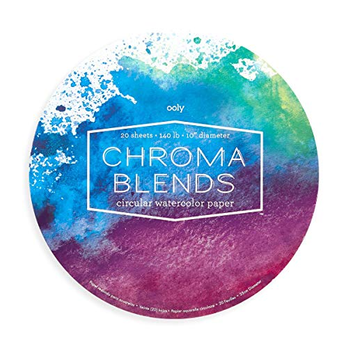OOLY, Chroma Blends Circular Acid-Free Watercolor Paper Pad - 15 Sheets, 8 x 10 Inches