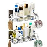 Estante de ducha, 2 unidades de cesta de ducha, sin taladrar, de aluminio,...