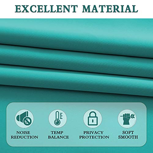 DONREN 30 Inches Long Curtain Tiers for Kitchen - Blackout Short Length Curtains for Bathroom(42 Inches Wide,Teal,2 Panels)