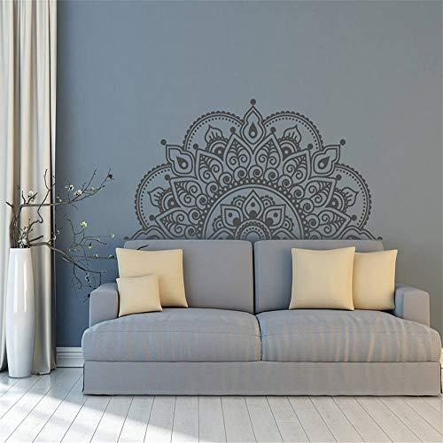yiyiyaya Vinyl Wall Decal Half Mandala Wandbild Aufkleber Yoga Lover Geschenk Home Kopfteil Dekor Interior Design Schlafzimmer Decals Kunst grau 85x42 cm