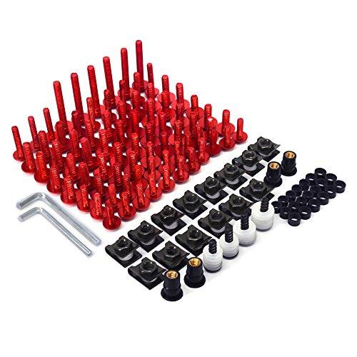 JFG RACING, Kit Completo di bulloni per carenatura Moto, Universale, in Alluminio CNC, Viti di Fissaggio, Dadi per Honda Sports Street Bike (Rosso)