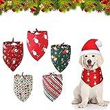5 Piezas Bandana de Perros de Año Nuevo,Baberos Lavables de Triángulo Bufanda,Pañuelo de Mascotas de Acción,Bandanas de Perros de Navidad,Pañuelo de Navidad para Perro