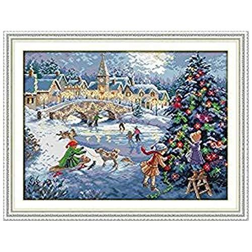 Cleana Arts Kits de punto de cruz, Navidad Celebración, 11 ct, 66 cm x 51 cm