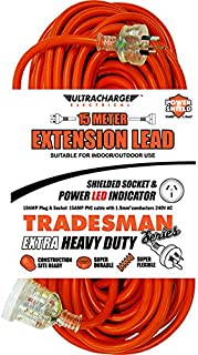 15M Heavy Duty Extension Lead Tradesman- Orange& Clear Plug