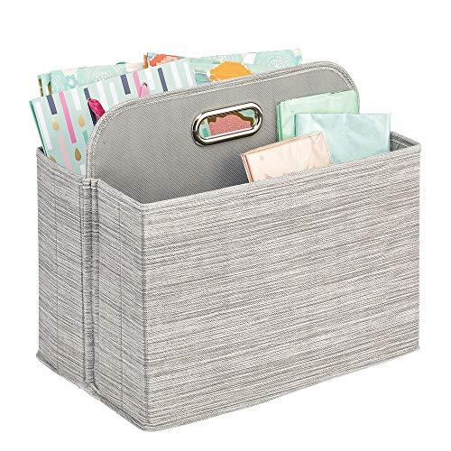 mDesign Caja con Compartimentos y asa – Organizador Vertical con 2 apartados de Fibra sintética, cartón y Metal – Cesta organizadora Multiusos, Ideal como revistero archivador y más – Gris y Beige