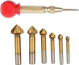 Highmoor 6pcs 3 Flute 90 Degree HSS Chamfering End Mill Cutter Bit Countersink Drill Bit, 5