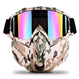 Freehawk Motorcycle Goggle Mask - Tactical Glasses with Detachable Mask for Airsoft/ CS/Paintball/Skiing/Riding/Snowmobile/Cycling/Halloween/Costume Ball (Camo Pattern)