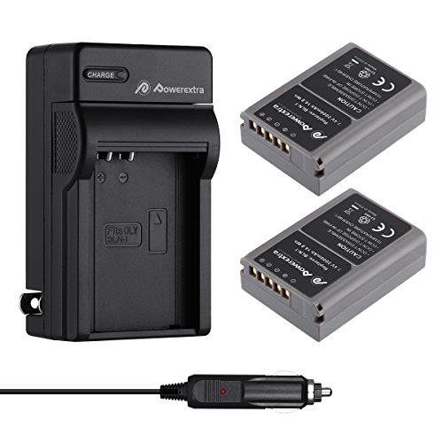 Powerextra 2 Pack Battery and Charger for Olympus BLN-1, BCN-1 and...