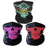 3x Premium Multifunktionstuch   Sturmmaske   Bandana   Schlauchtuch   Halstuch mit Totenkopf- Skelettmasken für Motorrad Fahrrad Ski Paintball Gamer Karneval Kostüm Skull Maske … (Grün/Rosa/Rot)