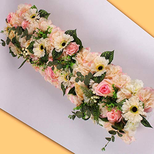 CPFYZH Boda Fake Flower Row Wall Arch Decoration T Station Road Lead Fake Flower Window Christmas Home Decoration-Light_Pink_100Cm