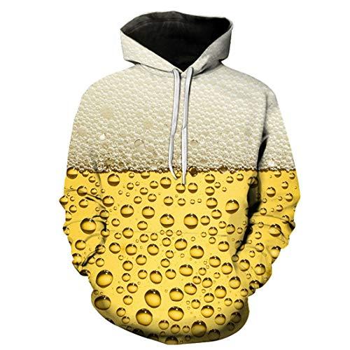 Sczz Hoodie Herren Sweatshirt Herren Kordelzug Langarm Bequeme Dicke Lose Tasche Herren Pullovers Neues Biermuster Trend Weihnachtsfeier Feiern Sie Urlaub Herren Hoodie F-Yellow M