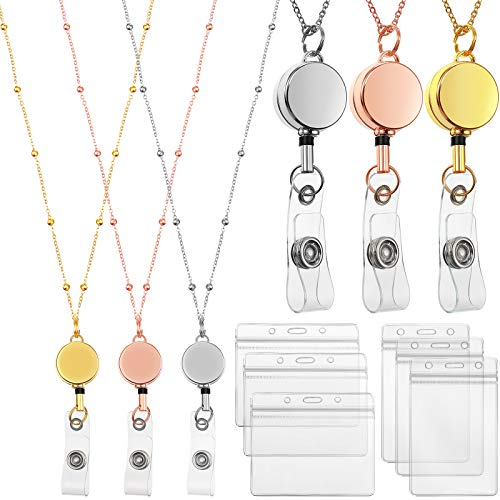 Retractable Badge Reel Lanyard with ID Holder, 3 Pieces Beaded Badge Lanyard Necklace with 6 Waterproof Name Card Holder Stainless Steel ID Holder Necklace for Women Men (Rose Gold, Silver, Gold)