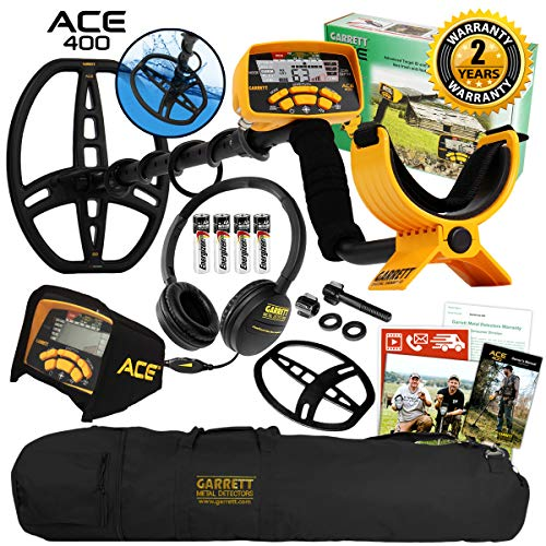 Garrett ACE 400 Metal Detector with DD Waterproof Search Coil and Carry Bag...