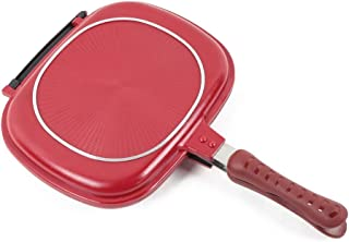 Sartén Los 28CM / 32CM de doble cara sartén antiadherente Barbacoa Cocinar Herramientas Partido Herramienta for el hogar al aire libre de cocina (Color : 32CM)