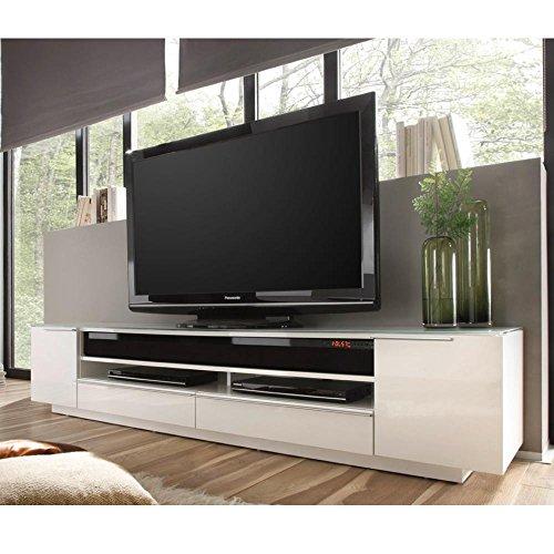 Robas Lund, Lowboard, Fernsehtisch, TV-Schrank, Canberra, Hochglanz/weiß, mit Soundsystem, 196 x 41 x 41 cm, 59135W54