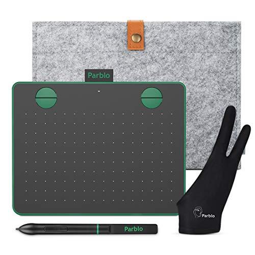 Parblo Graphics Tray A640 V2 6 x 4 pollici OSU Games, Drawing Tablet 8192 Livelli di pressione Penna senza batteria e 4 tasti di scelta rapida, con custodia in feltro e guanto (verde)