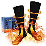 OYRGCIK Heated Socks, Thermal Socks for Men Women Winter Electric Warm Socks with Rechargeable Battery, 3 Heating Settings Leg Foot Warmers for Cold Weather Outdoor Camping Hiking Ski, Black