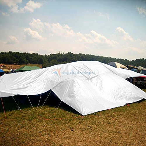 Sunshades Depot 12 x 20 Feet Heavy Duty 10 Mil White Multi-purpose Waterproof Poly Tarp Cover Tent Shelter Camping Tarpaulin