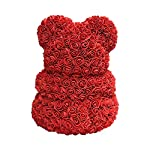 fancy supplies 16″ teddy bear forever roses artificial rose anniversary christmas valentines gift red pink white blue (16″, one bear + acrylic box) (red)