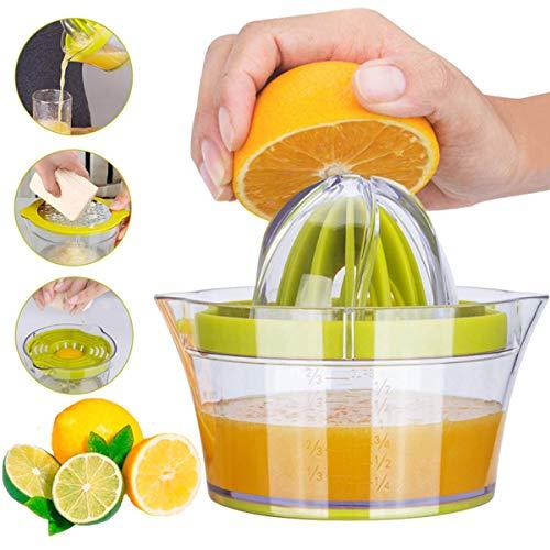 Benpumhzdl Citrus Lemon Orange Juicer, Manual Hand Squeezer, 4 in 1 Multi-function Manual Juicer with Multi-size Reamers, Egg Yolk Separator, Ginger Garlic Grater, Large Capacity Measuring up 12OZ