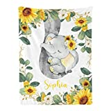 Qearl Cute Sunflower Greenery Sleepy Elephant Personalized Baby Blanket with Name for Boys Girls,Custom Throw Blanket Super Soft for Crib,Outdoor,Indoor 30x40 Inches