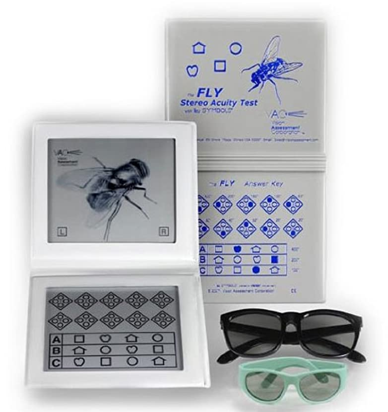 飽和する注釈鮫ステレオフライ視力テストW/リーシンボル