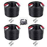 4 Pack 50ft BNC Video Power Cables, 2-in-1 Security Camera Cable BNC Extension Surveillance Camera Cables for Video Security Systems (Black)