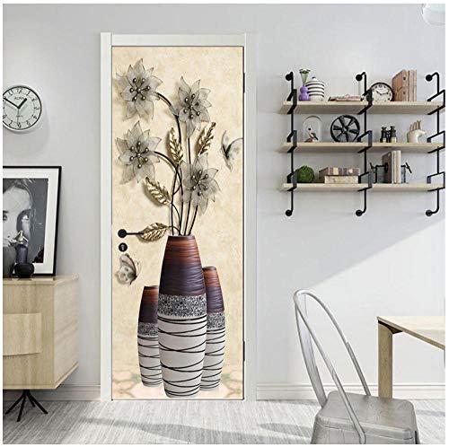 Beschikt over bloemen bladgoud vaas creatief design deursticker 3D decoratie huis woonkamer meisjes slaapkamer kast PVC afneembare vinyl muur 95x215cm