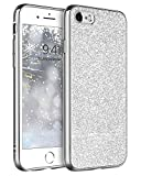 BENTOBEN Compatible with iPhone SE 2020 / iPhone 8 / iPhone 7 Case, Slim Protective Shockproof Luxury Glitter Sparkly Bling Girly Soft Flexible Bumper Non-Slip Phone Case Cover for Girls Women, Silver
