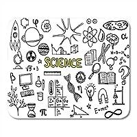 マウスパッド漫画顕微鏡科学落書き研究原子生物学ブック脳マウスパッド用ノートブック、デスクトップコンピュータマットオフィス用品