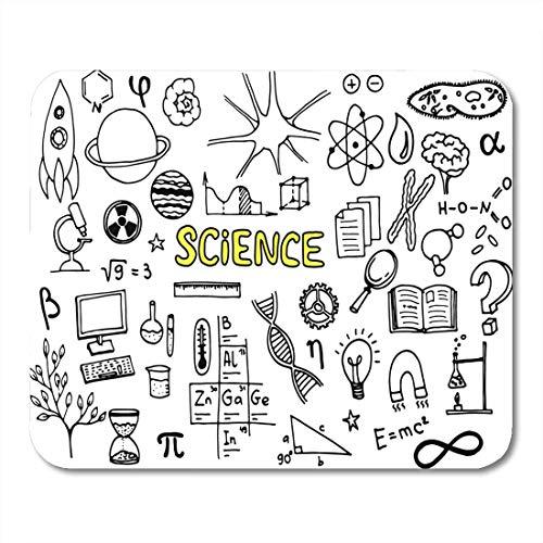 Alfombrillas de ratón Dibujos animados Microscopio Ciencia Doodle Estudio Átomo Libro de biología Cerebro Alfombrilla de ratón para portátiles, alfombrillas de escritorio Alfombrillas de oficina