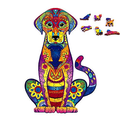 """Wooden Puzzles for Adults,Unique Shaped Jigsaw Puzzles,Wooden Animals Shaped Puzzles,Magic Wooden Jigsaw Puzzles,103 Pieces Labrador Unique Puzzles,Wood Puzzles Adult 9.25""""x6.3"""" (S)"""