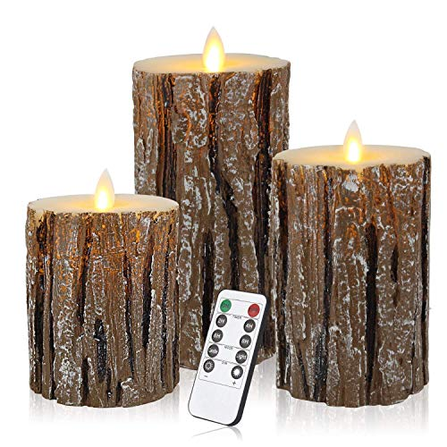 Enpornk ZW10003 Flameless Candles with brich Effect Set of 3 Dripless Real Wax Pillars Include...