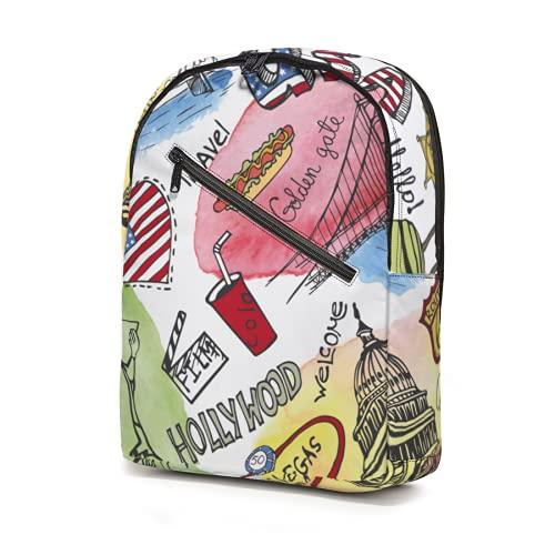 American Landmark Illustration Mochila resistente al agua bolsas escolares ligeras Bookbags camping viaje mochila escolar gran capacidad para niños niñas adolescentes adultos